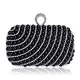 Bolsos Mujer Bolso De Noche De Embrague De Perlas para Mujer Monedero De Moda Bolso De Boda para Mujer con Bolsos De Cadena De Hombro De Fiesta De Anillo Negro