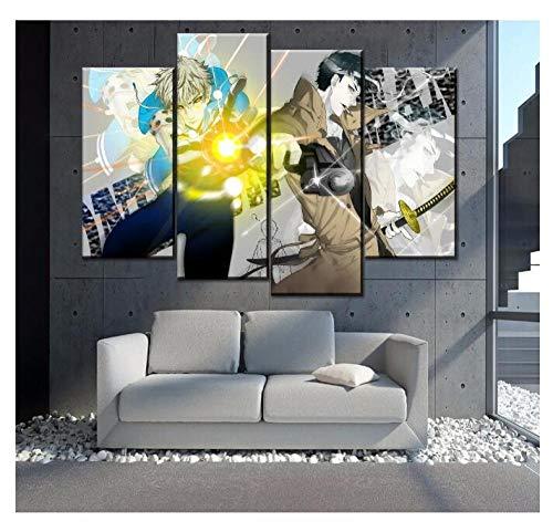 KPWAN Poster Kunstdrucke 4 Panels Genos Und Zombieman One-Punch Man Leinwand Malerei Schlafzimmer Wohnzimmer Wandkunst Home Decor Bild Kein Rahmen Größe C.