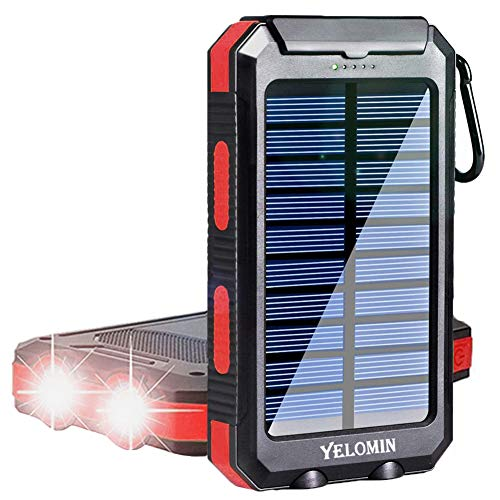 Solar Phone Charger 20000mAh,YELOMIN Mobile Power Bank Portable Outdoor Camping Travel External Backup Battery Pack, Panel Charger Dual USB 5V Outputs...
