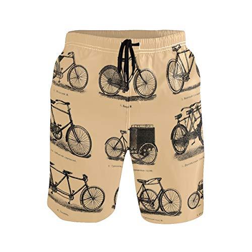 FANTAZIO Surf Shorts Strandshorts Smit Kordelzug Vintage Fahrrad Malerei Gr. Verschiedene Größen, 1