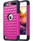 ULAK iPod Touch 7 Case, iPod Touch 6 Case, Bling Glitter Heavy Duty Shockproof Protective Case with Dual Layer Hard PC+ Soft Silicone for Apple iPod Touch 7th/6th/5th Generation, Hot Pink