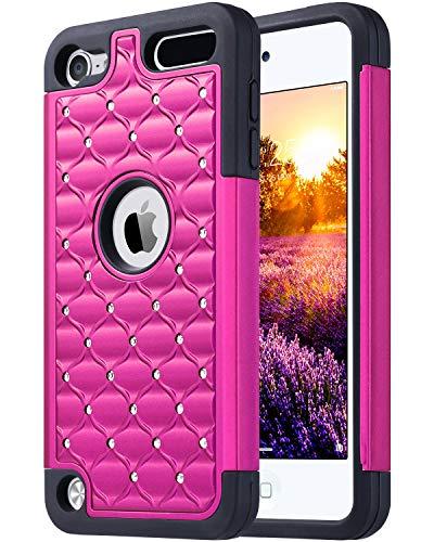 ULAK Cover iPod Touch 6, Custodia con Brillantini/Glitters Ibrida a Protezione Integrale con Parte Esterna in 3 Strati di Morbido Silicone e Interno Rigido per iPod Touch 6g / 5g, Rossa + Nero