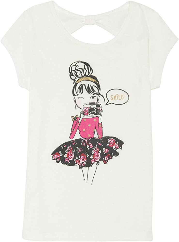 French Toast Girls' Short Sleeve Bow Back Graphic Top