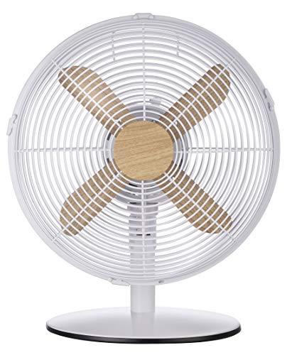 Russell Hobbs RHMDF1201WDW Desk Fan, 45 W, White with Wood Effect Trim