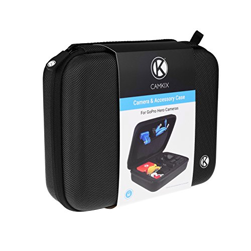 CamKix Carrying Case Compatible with Gopro Hero 4, Black, Silver, Hero+ LCD, 3+, 3, 2 and Accessories – Ideal for Travel or Home Storage – Complete Protection for Your GoPro Camera – Cleaning Cloth