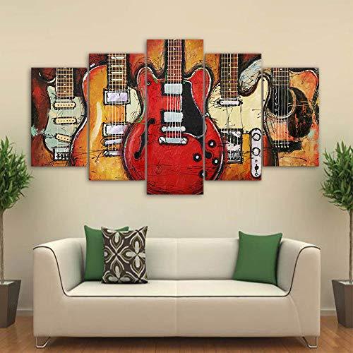 Kunstdruk Op Canvas Hd-Afbeeldingen Frameloze Gitaar Patroon Abstract Olieverfschilderij Huismuur Art Deco Canvas Schilderij