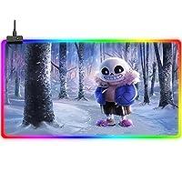 マウスパッド 漫画の動物RGBマウスパッドかわいい大型拡張LEDキーボードパッドは、精度を向上させます光るゲーミングパッド滑り止めラバーベースビッグサイズラップトップデスクパッドオフィス700x300mm