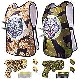 DX DA XIN Juego de chaleco táctico para niños,2 chalecos con dianas +2 pistola Blaster +40 dardos de espuma suave,chaleco de camuflaje para soldados, policía, cosplay, armas, juguetes interactivos