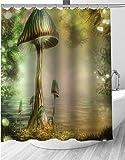 Camping Duschvorhang Zauberwald Du Duschvorhang Fenster Anti-Schimmel Und Wasserabweisend 150*180Cm Top Qualität Wasserdicht, Anti-Schimmel-Effekt 3D Digitaldruck Inkl. 12 Duschvorhangringe Für B