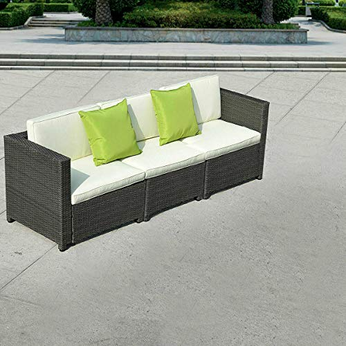Tangkula 3PC Outdoor Patio Sofa Set Sectional Furniture PE Wicker Rattan Deck Couch (Black)