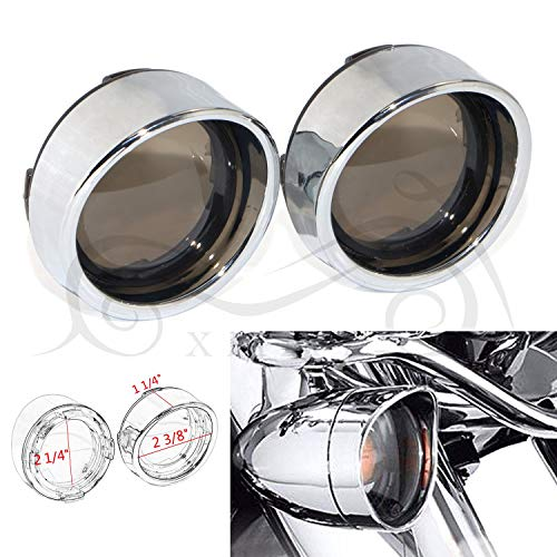 Pair Motorcycle Turn Signal Lights Visors Lens Cover For Harley Davidson Sportster 883 1200 Softail Dyna Road King Road Glide(Chrome&Someked )