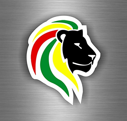 Akachafactory Autocollant Sticker Voiture Rasta Reggae One Love Lion Drapeau Jamaique ref12