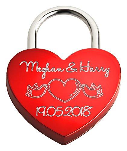 Liebesschloss In Herzform | Personalisiertes Herzschloss Mit Beidseitiger Gravur Als Liebesgeschenk | Rot