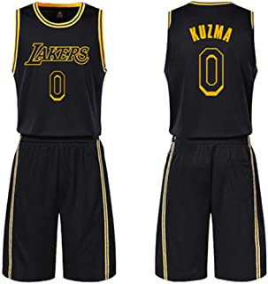 LVADE Jersey,23#James,24#Kobe,0#Kuzma,3#Davis,21#Howard,White,Yellow,Purple,Black,Suit, Basicball Wear,Sportswear,Team Uniform-Black-Kuzma-XXL