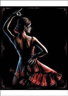 Flamenca by Marco Almera Spanish Dancer Sugar Skull Framed Poster Art Print