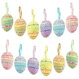 Wishstar Uovo di Pasqua, 12 Pezzi Uova di Pasqua, Artigianato per Decorazione delle Uovo Pasqua, Decorazione da Appendere, Uova Pasqua per Decorazioni e Regali - D