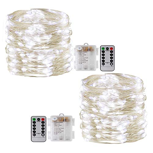 Fairy String Lights with Remote,[2Pack 33Ft] Vikdio Waterproof 100 LEDs Starry Lights 8 Modes Battery Operated Silver Wire Fairy Rope Lights for DIY Wedding Party, Bedroom, Patio, Garden (White)