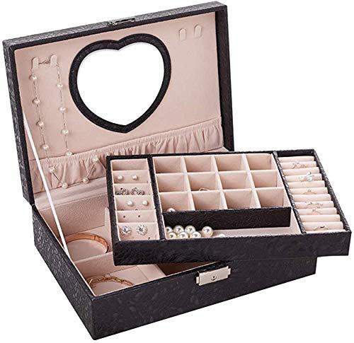 Recet Joyero joyero para mujeres y niñas, organizador de joyas de 2 niveles de piel sintética, caja de almacenamiento de joyería mediana (negro)