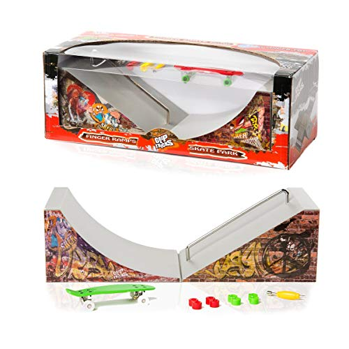 Grip & Tricks - Rampas para Finger Toy - Halfpipe Assembly Set with 1 QUATERPIPE + 1 Slider - Fingerboard - Cruiser Board : Dimensions: 28 X 12 X 10 cm
