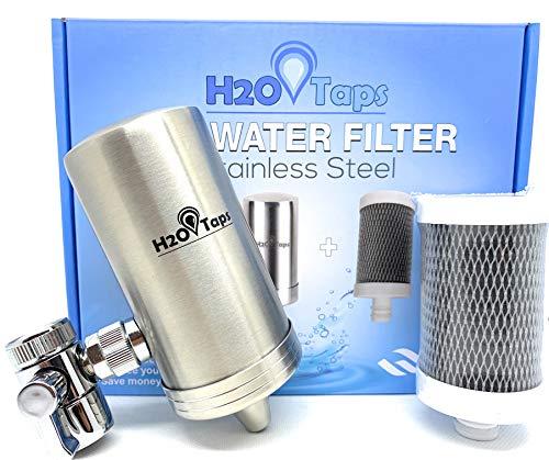 H2O Taps Filtro de Agua para Grifo | Acero Inoxidable | Filtra Cloro, Plomo y Elimina Mal Olor y Sabor del Agua | Sistema de Filtración de Agua con Diseño Elegante | La Elección Duradera