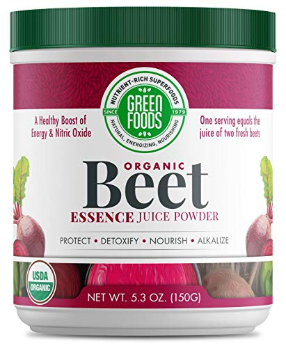 Green Foods- Beet Essence Juice Powder- Organic and Raw Superfood, Wholefood Antioxidant, Ideal for Detox, Preworkout, and Inflammation, 150 Grams, 5.3 Ounces