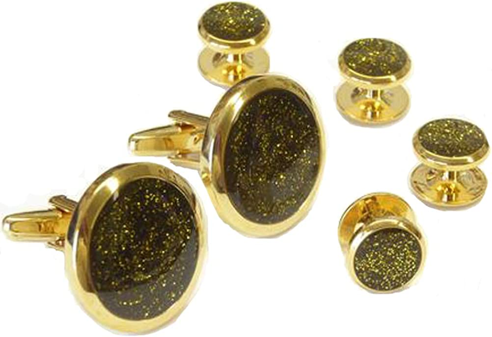 Gold Dust with Black Background Tuxedo Cufflinks and Studs