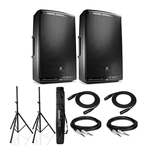 JBL EON615 Speaker Sound System (Pair) Bundle with Knox Gear Speaker Stands and Cables (7 Items)