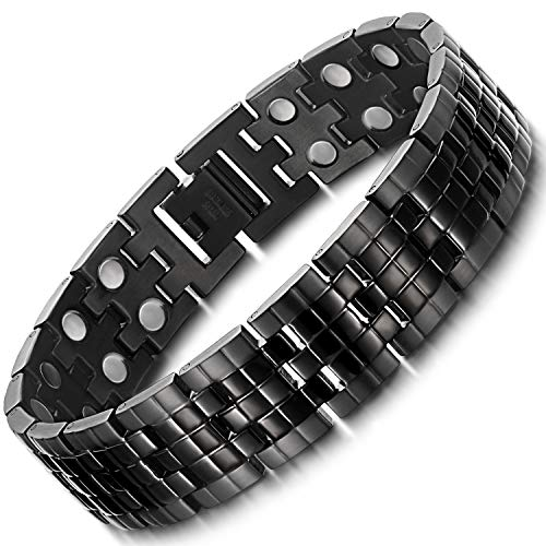 RainSo Mens Black Double Row Magnetic Therapy Bracelet Pain Relief for Arthritis 3500 Gauss Adjustable Design with Gift Box