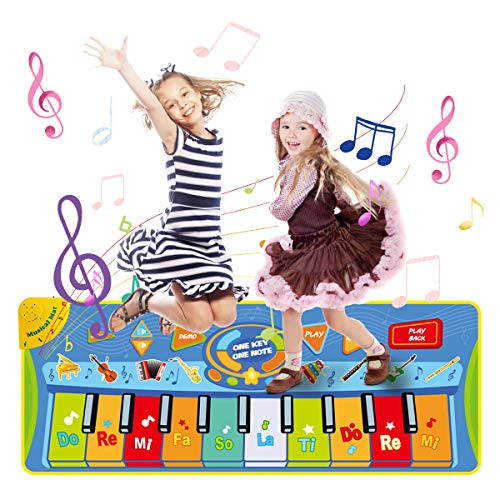 LEADSTAR Klaviermatte Musikmatte Kinder Klaviertastatur Musik Playmat Spielzeug 130*48 cm, Funny Dance Mat for Babys Toddler Boys and Girls Gift