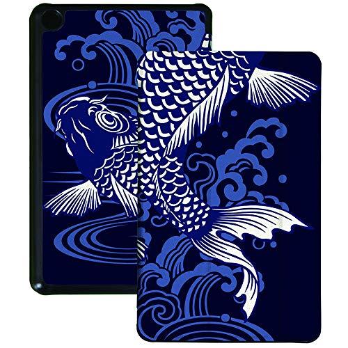 Colorful Star Funda delgada para tablet Kindle Fire 7 (9ª generación, lanzamiento de 2019) – Funda de piel sintética con soporte plegable para tablet Fire 7 – Pareja de carpas