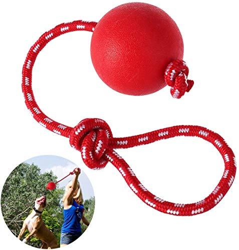 PIQIUQIU Wurfball Hund, 1 Stück Elastische Hundespielzeug Ball mit Seil   Naturgummiball Seil   Welpenspielzeug Hund   Hunde Spielzeug   Spielzeug für Hunde Durchmesser 7 cm