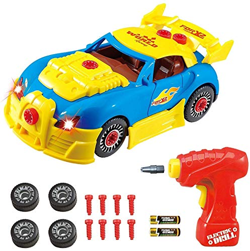 Think Gizmos Take Apart Toy Racing Car - Construction Toy Kit for Boys and Girls Aged 3 4 5 6 7 8 - Build Your Own Car Kit Exclusive Version to Think Gizmos with Easy Access Power Switch STEM Toy