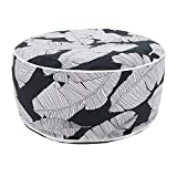 Fennco Styles Black & White Banana Leaf Round Indoor & Outdoor Pouf – 200lbs Weight Capacity Removable Cover Ottoman for Low Seat, Bedroom, Backyard and Living Room Décor