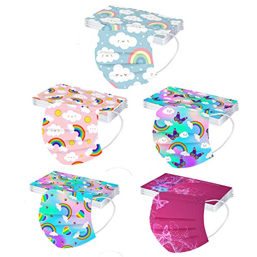 CHENSEN 50PCS Christmas Kids Disposable Face Mask 3 Layers Cute Cloth Protective Masks Childrens Halloween Festival Party