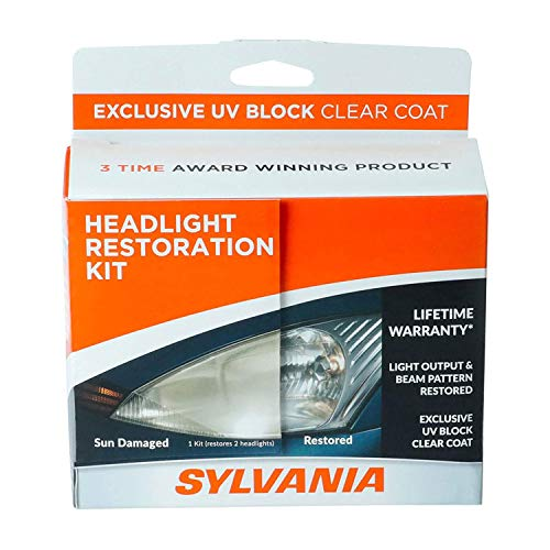 SYLVANIA - Headlight Restoration Kit - 3 Easy Steps to Restore Sun Damaged Headlights with Exclusive UV Block Clear Coat, Light Output...