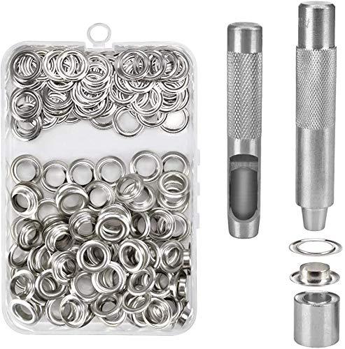 Ojetes Metalicos -WENTS 6MM Ojales Metalicos Kit de Herramienta de Ojetes Ojal de Latón Ojales para Lonas Toldos Ropa Cortinas Scrapbooking Kit de Ojetes de Metal con Caja de Almacenamiento