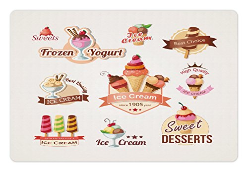 Lunarable Ice Cream Pet Mat for Food and Water, Different Vintage Emblems Set Best Choice Desserts Frozen Yogurt, Rectangle Non-Slip Rubber Mat for Dogs and Cats, Multicolor
