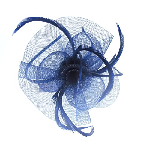 Bleu marine Bibi Serre-tête pour les mariages, les courses, Mesdames Jour