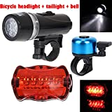 Bike Light Set, Super Bright bicycle front light led Headlight Waterproof 2 Modes and Back light 7 modes, bicycle lights front and rear Increase Visibility Safety Tail Light for Fits All Bicycle