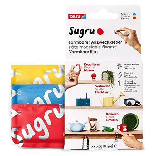 Sugru Mouldable Glue de tesa, adhesivo fuerte multiusos, envase de 3 (3 x 3,5 g) en Rojo, Azul y Amarillo