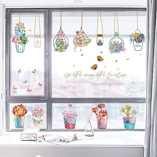 1 x muursticker, motief: bloempot, om op te hangen, cartoon, creatief, afneembaar, voor slaapkamer, woonkamer, kinderkamer