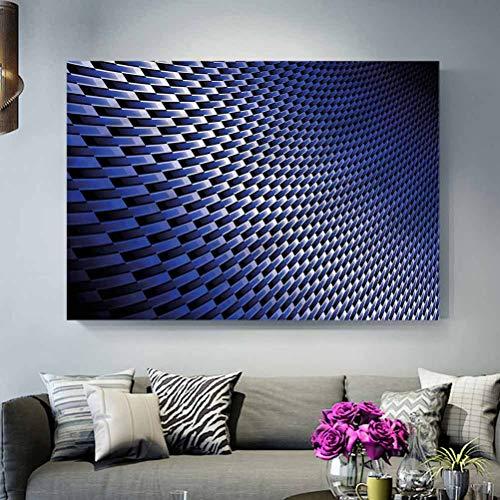 ParadiseDecor Office Wall Decoration No Frame Dark Blue,Industrial Modern Grid L30 x H60 Inch