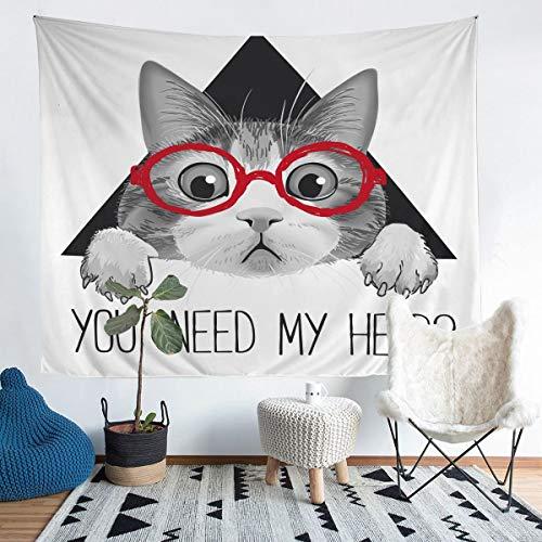 Manta para colgar en la pared, diseño de gatos grises, con gafas rojas, para niños y niñas, con dibujos animados, ideal para decoración de habitación, color blanco y negro, tamaño grande, 58 x 79