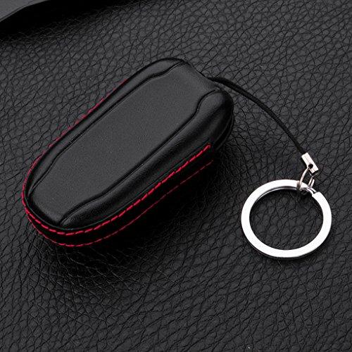 Kongnijiwa Auto-Leder-Schlüssel-Mappen-Abdeckungs-Fall Shell mit Schlüsselring Schlüsselhalter für Tesla Model S 4D
