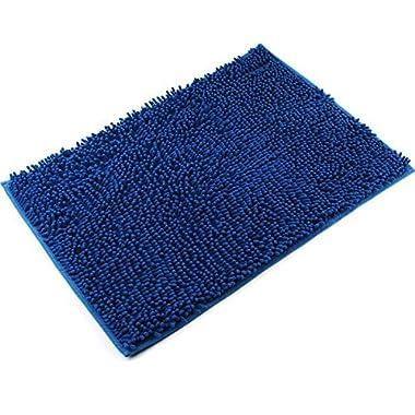 VDOMUS Soft Microfiber Shag Bath Rug Absorbent Bathroom Mat,32  x 20  (Blue)