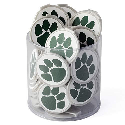 Green - '2 Fun' Bookmark Mini Tub - Paw Prints - 75/pkg - 1-1/2' Diameter Plastic
