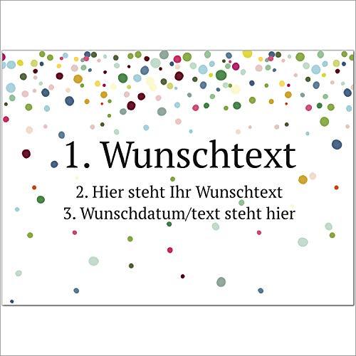 8 x Personalisierte Gruß-Karten mit Ihrem Wunschtext, Motiv Konfetti Bunt, als Einladung, Save The Date, Dankeskarte oder Geburtstagskarte, DIN A6