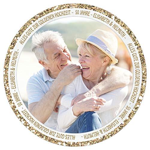 Tortenaufleger Tortenbild Hochzeit Hochzeitstag Gold Glitzer Wunschtext Foto selbst gestalten essbar Ø 20cm 525