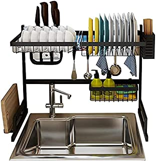 GALAXGO Large Capacity Space Saver 2 Tier Stainless Steel Over Sink Dish Drainer Display Stand Rack with Kitchen Utensils ...