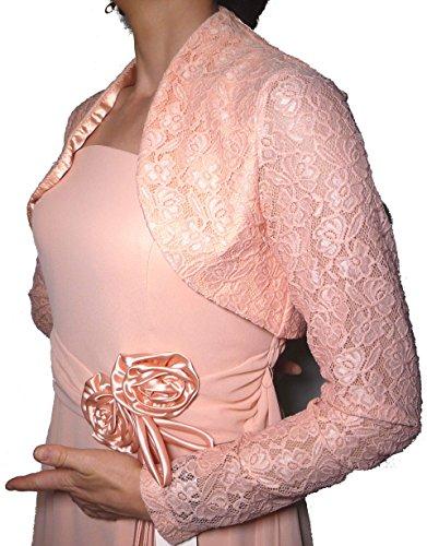 Coprispalle Elegante Corto Cerimonia Pizzo e Raso Cardigan Matrimonio Battesimo Donna Ragazza (Rosa)